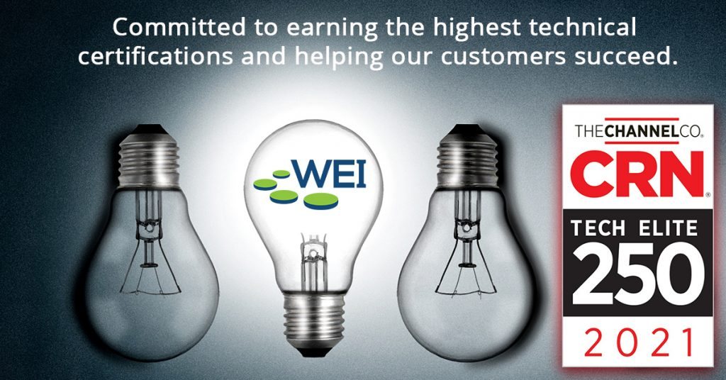 """Tech Elite 250 List Honors the Highest-Achieving IT Solution Providers in Vendor Certifications May 17, 2021, (Salem, New Hampshire) — WEI today announced that CRN®, a brand of The Channel Company, will honor WEI on its 2021 Tech Elite 250 list. This annual list features IT solution providers of all sizes in North America that have earned cutting-edge technical certifications from leading technology suppliers. These companies have separated themselves from the pack as top solution providers, earning multiple, premier IT certifications, specializations, and partner program designations from industry-leading technology providers.   Businesses rely on solution providers for an enormous number of technologies, services, and expertise to help them meet today's IT challenges — whether it's a new implementation or digital transformation initiatives. To meet these demands, solution providers and MSPs must maintain high levels of training and certification from IT vendors and achieve the highest tiers within those vendors' partner programs. Each year, The Channel Company's research group and CRN editors distinguish the most client-driven technical certifications in the North American IT channel. Solution providers that have earned these high honors — enabling them to deliver exclusive products, services, and customer support — are then selected from a pool of online applicants as well as from The Channel Company's solution provider database.  When designing solutions for its clients, WEI technicians prioritize customer satisfaction. To that end, WEI seeks out technical certifications that benefit customers, while also ensuring technicians are well-versed in new developments in areas such as cloud computing, networking, end user computing. By putting the customer first and ensuring that every solution that WEI designs is at the forefront of innovation, WEI helps propel businesses forward. """"As a company, our number one priority is supporting our customers and helping them reac"""